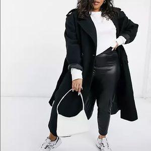 ASOS DESIGN - Curve luxe belted overcoat in black